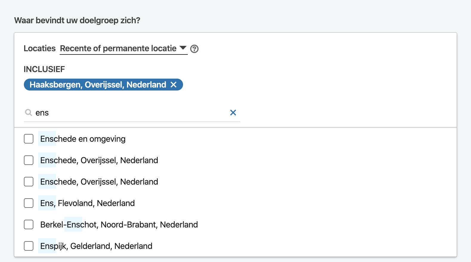 LinkedIn – Lokale/Regionale targeting